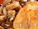 Рецепта Печена агнешка плешка с гъби и синьо сирене на фурна